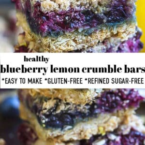 Pinterest image with a stack of lemon blueberry bars.