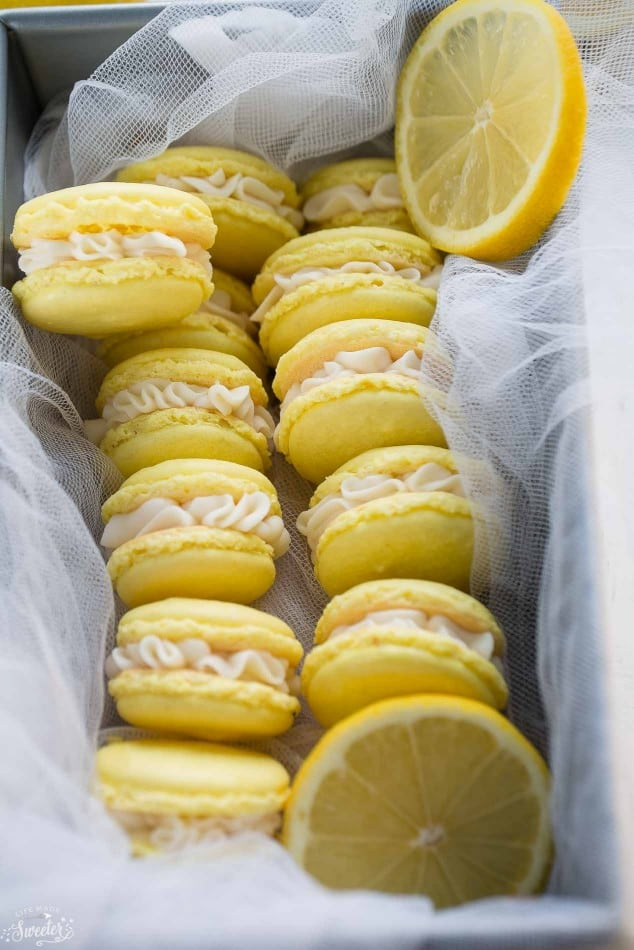 Lemon French Macarons filled with coconut buttercream make the perfect sunny sweet treat!!