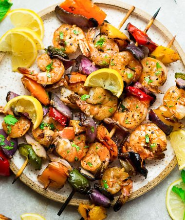 Grilled Lemon Garlic Shrimp Skewers with Vegetables