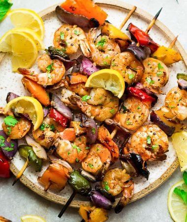 Grilled Lemon Garlic Shrimp Skewers with Vegetables