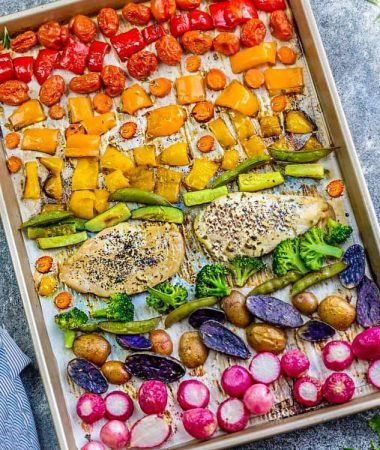 Lemon Herb Chicken Sheet Pan with Rainbow Vegetables + Video
