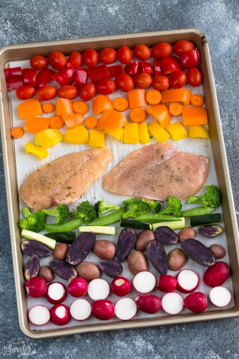 Lemon Herb Chicken with Rainbow Vegetables makes the perfect easy weeknight or Sunday meal. Best, of all, everything cooks up in just ONE sheet pan with minimal clean-up and it's perfect for Sunday meal prep! Leftovers are also great for your work lunchboxes and lunch bowls! A colorful and healthy spring or summer meal!