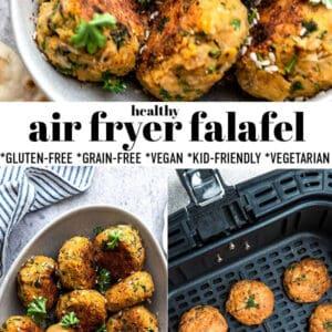 Pinterest collage of air fryer falafel photos.