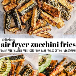 Pinterest collage for air fryer zucchini fries.