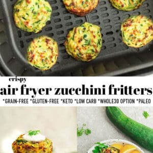Pinterest collage for air fryer zucchini fritters.