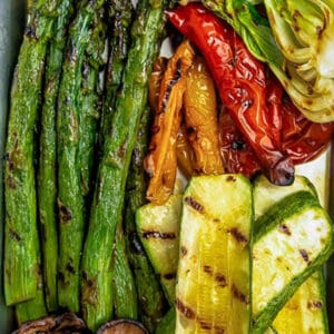 Pinterest graphic of grilled vegetables on silver tray.