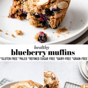 Pinterest collage of photos of healthy blueberry muffins.