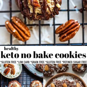 Pinterest collage for keto no bake cookies.