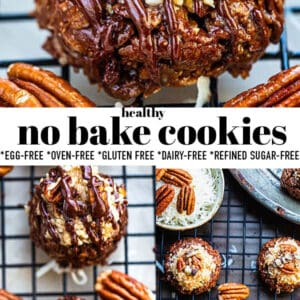 Pinterest collage of photos of no bake cookies.