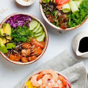 Pinterest graphic for salmon poke bowls