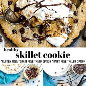 Pinterest collage for skillet cookie.