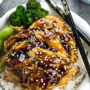 Pinterest graphic of photo of slow cooker teriyaki chicken.