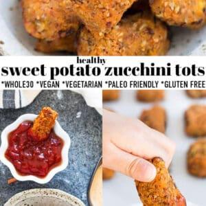 Pinterest collage of sweet potato zucchini tots.
