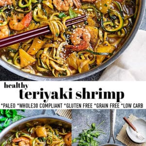 Pinterest collage for teriyaki shrimp.