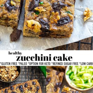 Pinterest collage of zucchini cake.