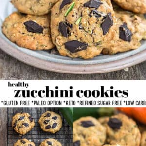 Pinterest collage of zucchini cookies.
