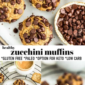 Pinterest collage of zucchini muffins.