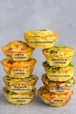 Two Flavor-Labeled Stacks of Four Breakfast Egg Muffins with a Ninth Muffin Balanced Between the Stacks