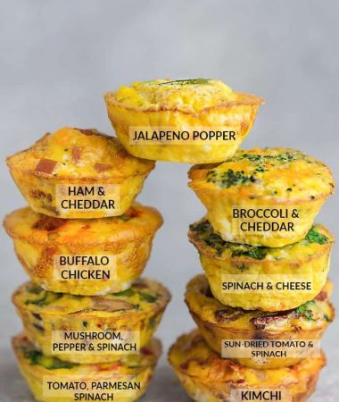 9 Different Flavored Breakfast Egg Muffin Cups - stacked on top