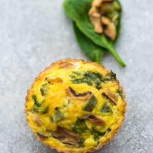 Mushroom, Pepper and Spinach Breakfast Egg Muffin Cups are the perfect easy make-ahead breakfast for on the go. Best of all, they are packed with protein and so convenient for busy mornings, weekend or holiday brunch! Broccoli and Cheddar Cheese, Buffalo Chicken, Ham and Cheddar Cheese, Jalapeno Popper, Kimchi, Mushroom, Pepper and Spinach, Sun-Dried Tomato and Spinach, Tomato, Basil and Parmesan