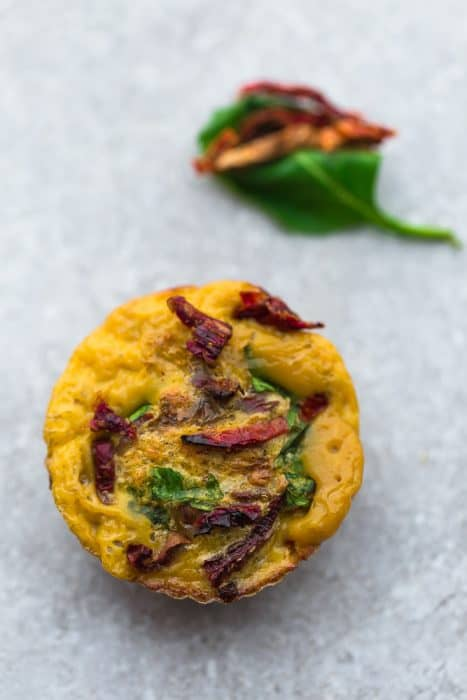 Top view of Sun-Dried Tomato and Spinach Breakfast Egg Muffin