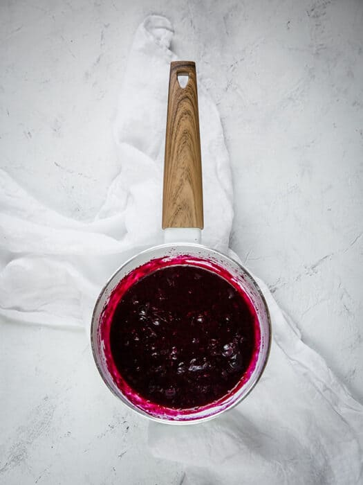 Top view of blueberry sauce for keto blueberry lemon cheesecakes