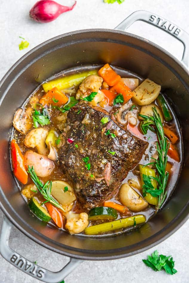A Freshly Made Instant Pot Pot Roast in a Metal Pan
