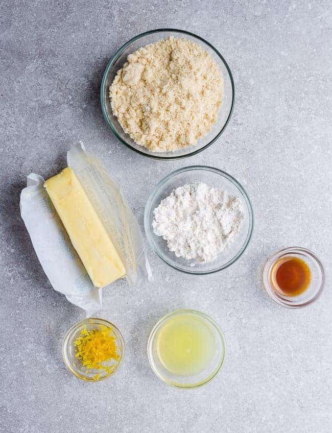 Ingredients to make Keto Lemon Bars - almond flour, coconut flour, lemon juice, lemon zest and butter