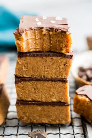 Top view of stack of keto peanut butter chocolate bars