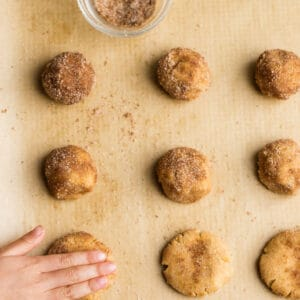 Top view of unbaked low carb snickerdoodle cookie doughballs with cinnamon sugar bowl on parchment paper on a baking sheet
