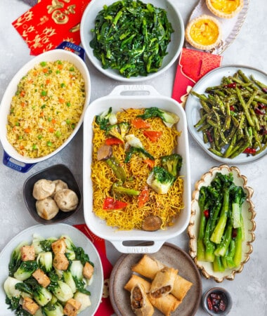 Top view of lunar new year recipes