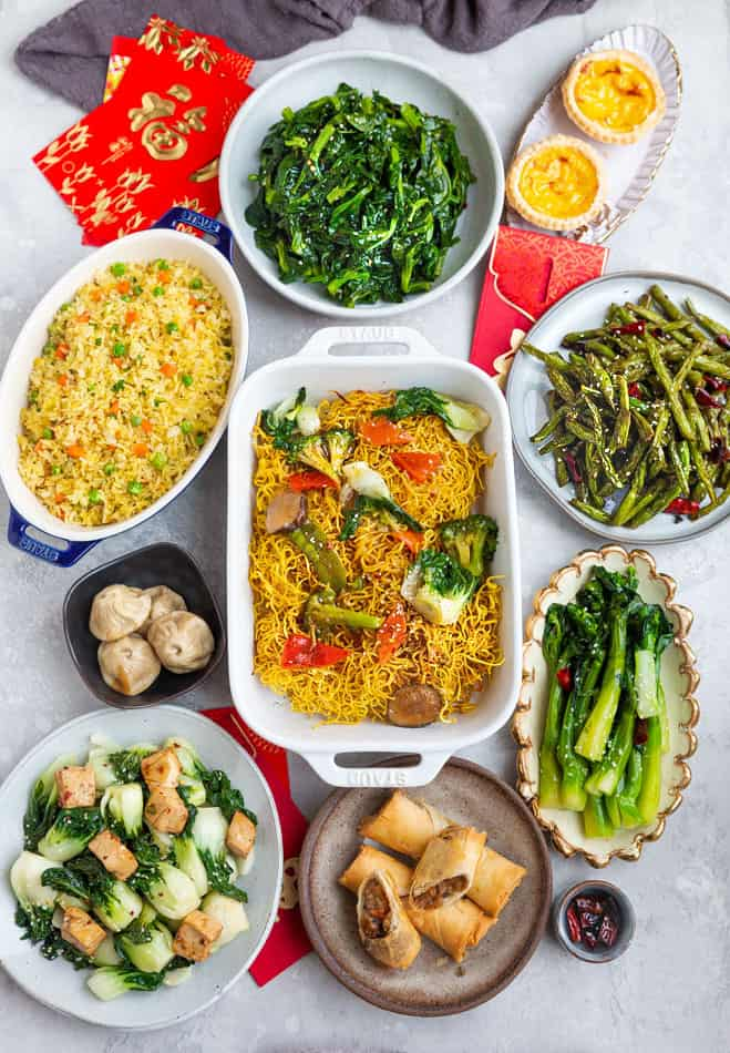 Top view of a variety of Lunar New Year dishes