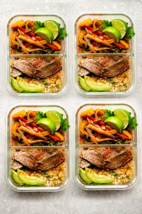 Easy Meal Prep Steak Fajitas are tender, juicy and full of flavor! Best of all, they come together super quick and are perfect for busy weeknights. Marinated in a homemade fajita spice blend and cilantro a delicious Tex-Mex cilantro lime marinade. Low carb and keto friendly serving options and great for meal prepping on Sunday for work or school lunchboxes or lunch bowls.