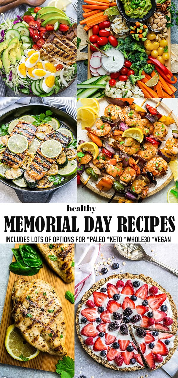 Pinterest image for healthy Memorial Day recipes.