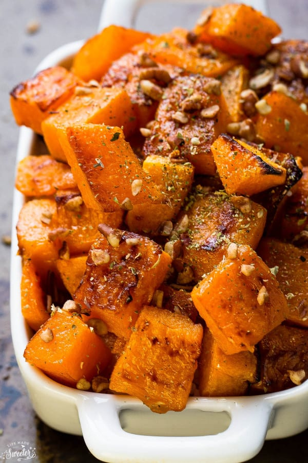 Maple Pecan Roasted Butternut Squash make the perfect easy side dish!!