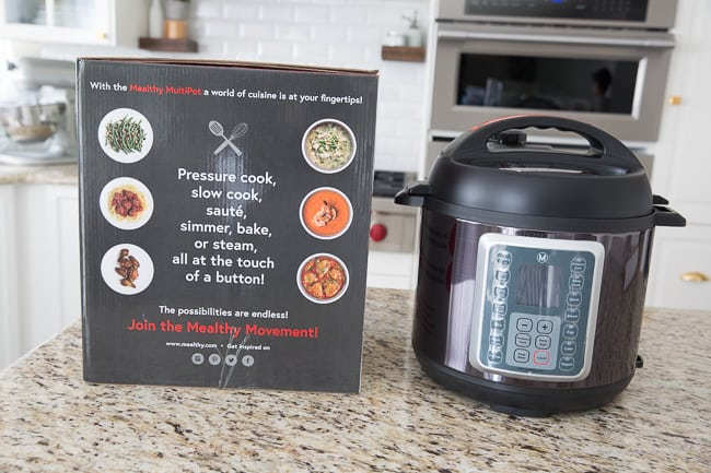 Front view of a Mealthy Multipot and its box