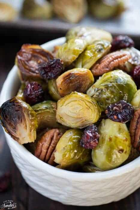 Miso Glazed Brussels Sprouts and Cranberries