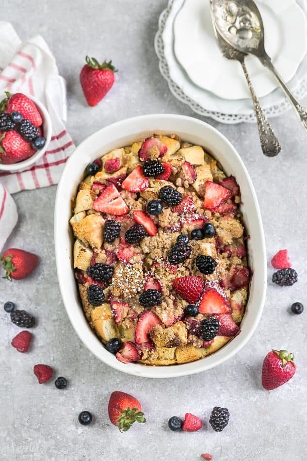Overnight Mixed Berry Cream Cheese French Toast Bake Casserole Bake makes the perfect, easy and delicious breakfast, brunch or dessert. A great recipe to add to Mother's Day, Easter, Fourth of July or any special weekend occasion.
