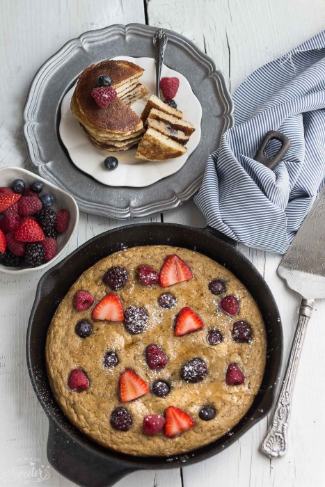 Baked Coconut Flour Berry Skillet Pancake