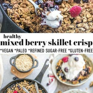 Pinterest collage for mixed berry skillet crisp.