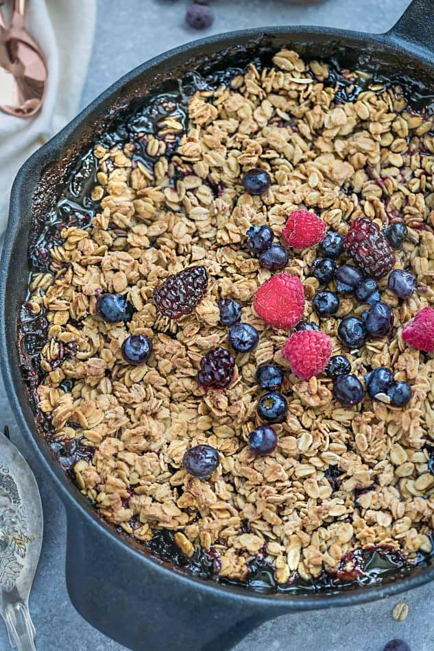gluten free fruit crisp with fresh blueberries, blackberries, and raspberries