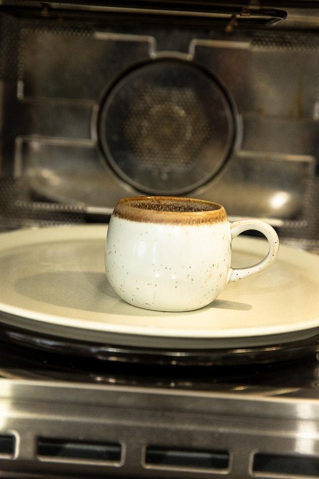 White mug in a microwave