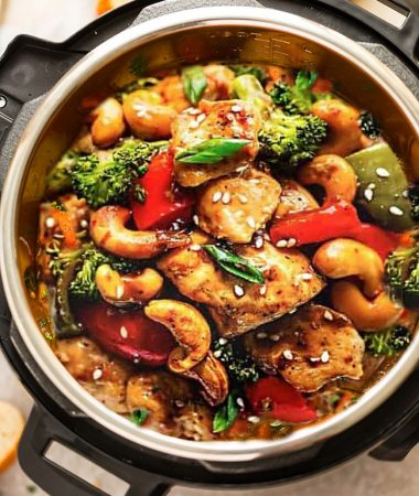 Instant Pot Cashew Chicken top view in the pressure cooker