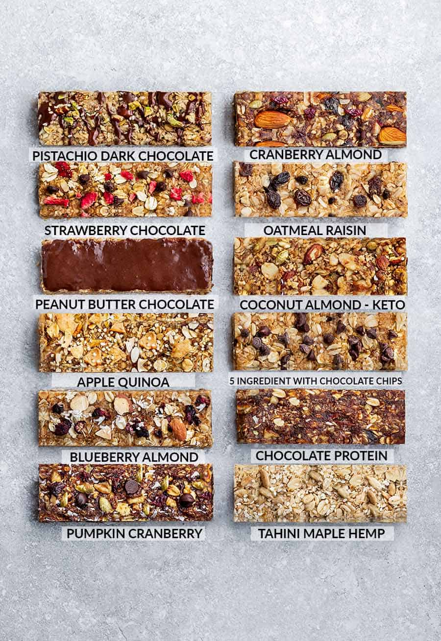 12 varieties of homemade granola bars on a gray background