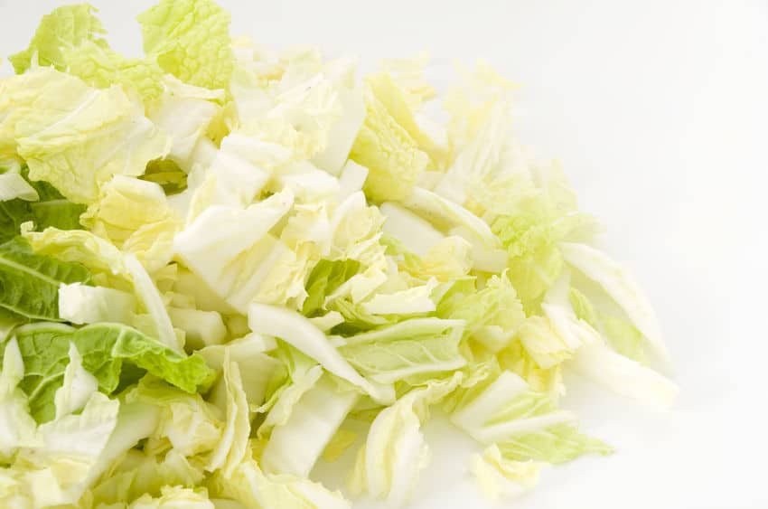 Chopped Napa cabbage on a white background