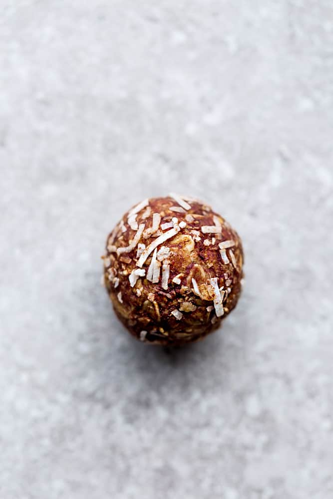Almond Joy Energy Ball rolled in coconut