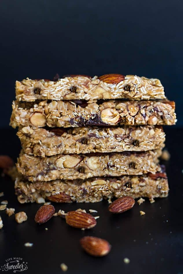 No Bake 5 Ingredient Granola Bars make the perfect easy grab & go snack. Best of all, they are healthy and come together easily in just ONE pot! Gluten free, refined sugar free and super delicious! They make amazing snacks to refuel up after a workout and great for on the go!