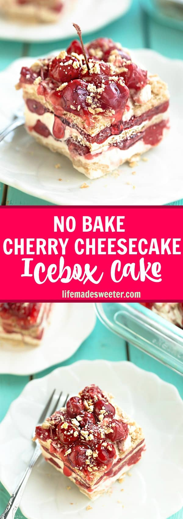 No Bake Cherry Cheesecake Icebox Cake is the perfect easy make ahead dessert! Best of all, it's made with just 6 ingredients and amazing for barbecues, potlucks and holiday parties!