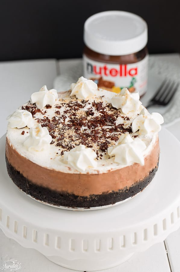 No Bake Nutella Cheesecake Pie is easy to make & perfect for sharing.