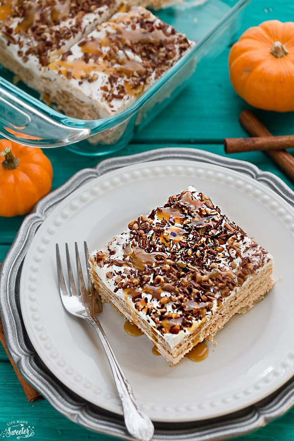 No Bake Pumpkin Icebox Cake makes the perfect make ahead fall dessert. Best of all, takes just minutes to whip up and full of cozy fall flavors!